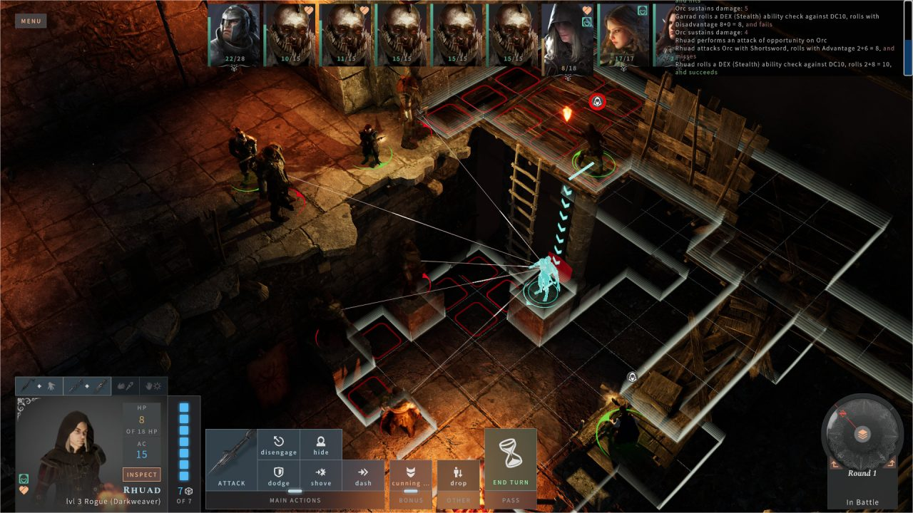 Solasta screenshot of a character participating in a battle with a grid.