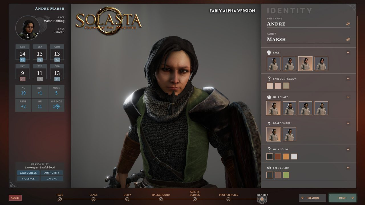 Solasta screenshot of a character in the process of being created.