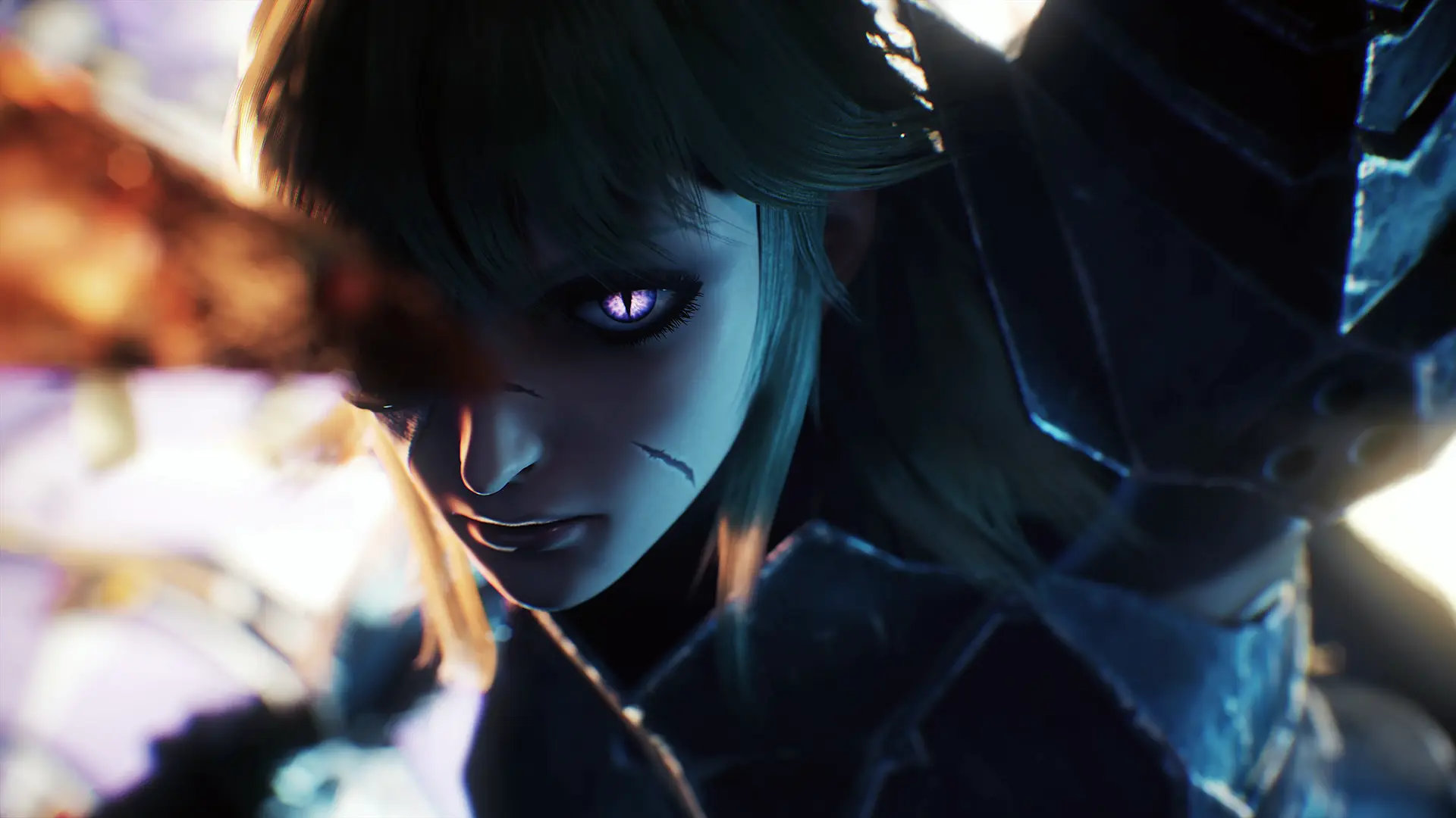 Soulstice artwork of a female warrior with glowing purple feline-like eyes and a scar across her face.
