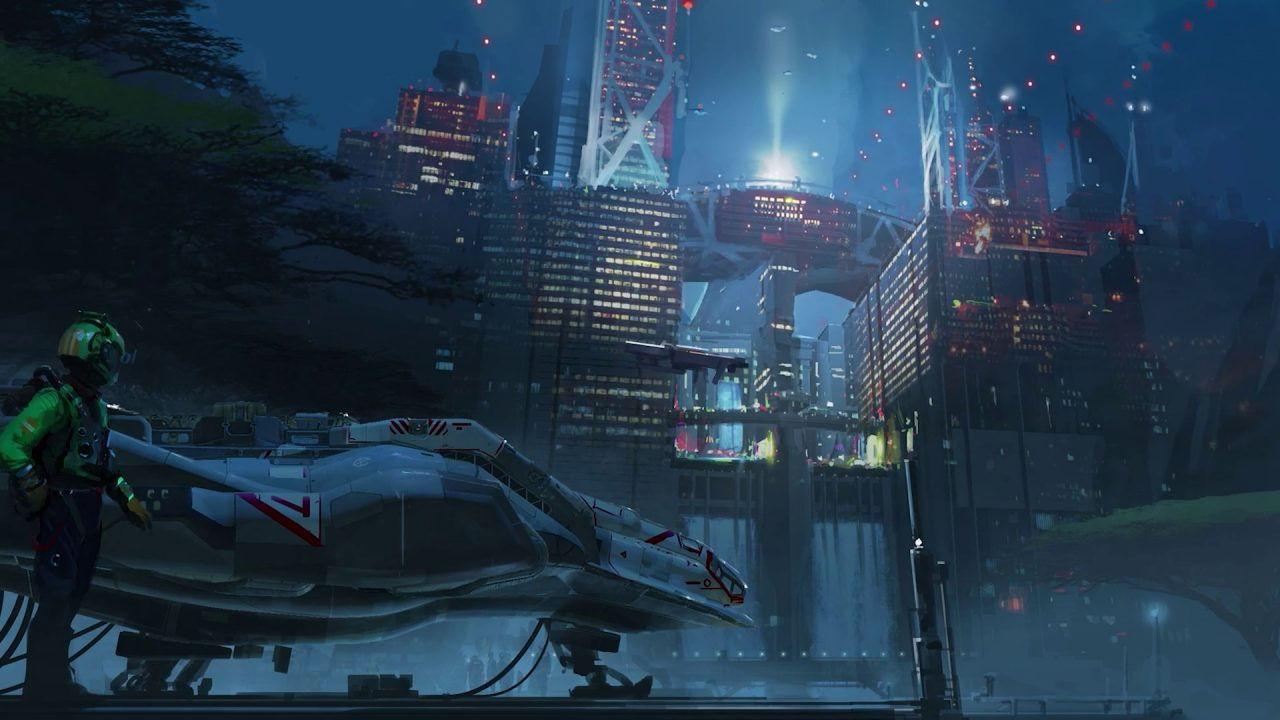 Concept art of man standing next to a spaceship at a port in Starfield