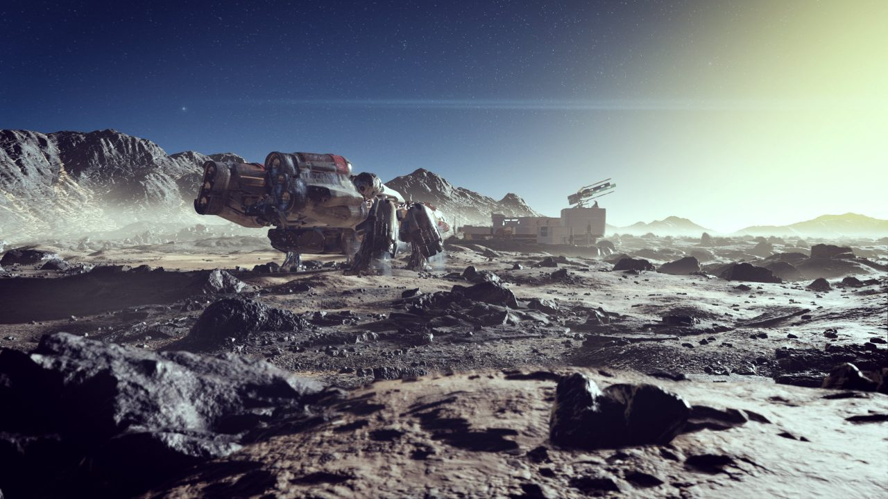 The rocky crags of some unknown world in Starfield.