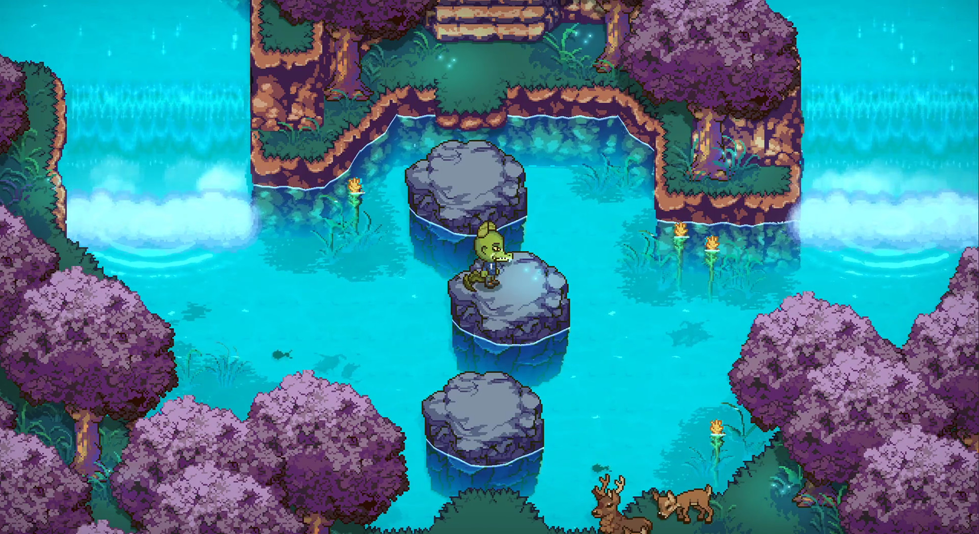 A lovely, crystal-blue lake in Sun Haven. The trees are covered in purple leaves. In the center of a screen is a bipedal crocodile.