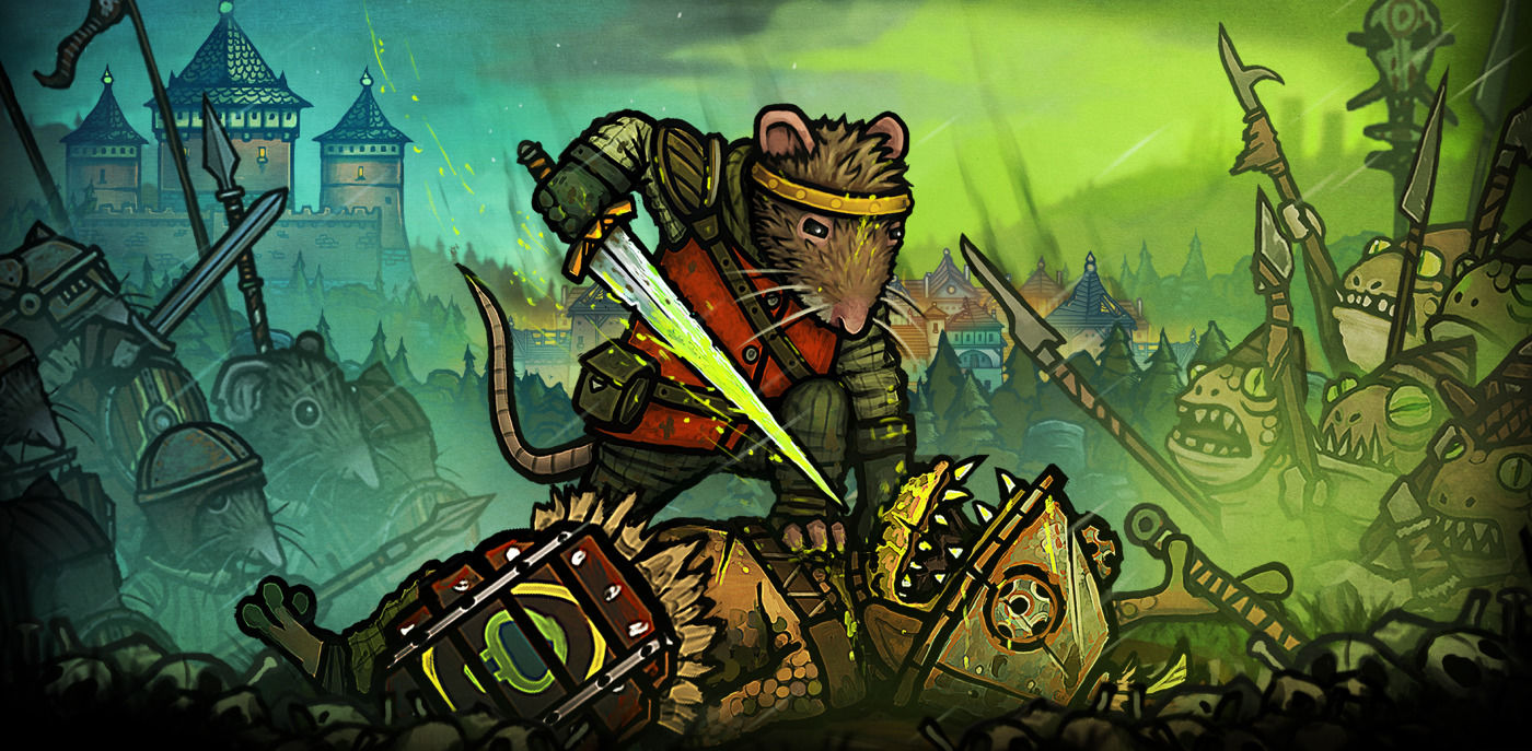 Redgi, the rat prince protagonist of Tails of Iron, stands atop a defeated frog with a long sword at the their throat.