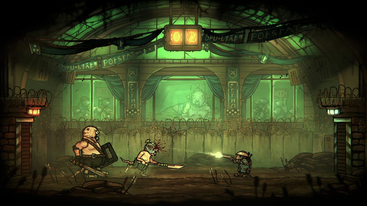 Action-packed gameplay with a greenish hue in Tails of Iron.  A small rat is firing a gun at what looks like two larger rodents.