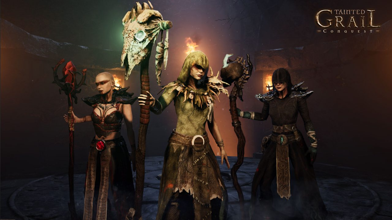 Tainted Grail: Conquest Characters -- a group of magic users in long robes, each carrying an impressive staff.