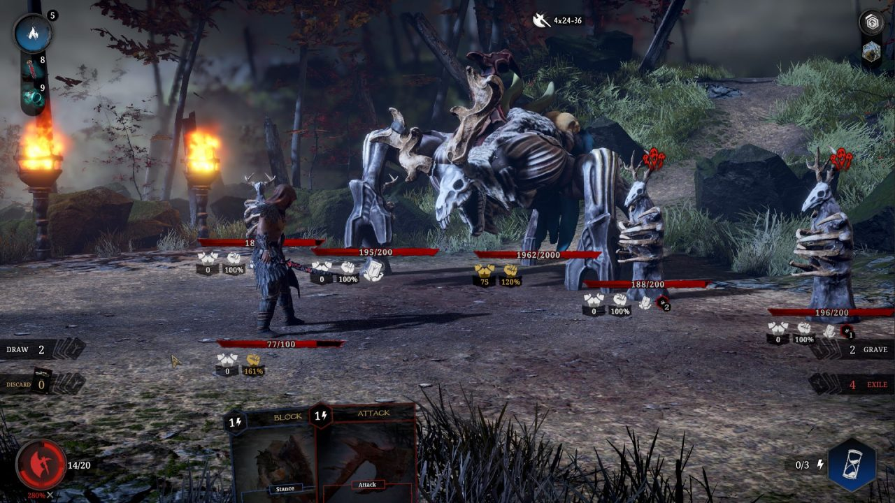 Tainted Grail: Conquest Combat Screenshot of a battle screen containing a large skeletal enemy with ram horns.