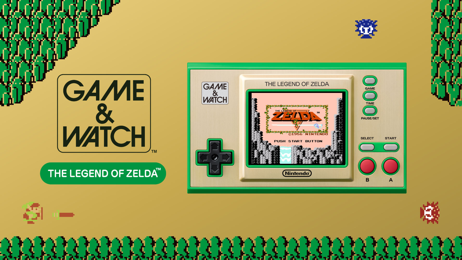 Game & Watch: The Legend of Zelda graphic with the handheld device in an NES Zelda setting.