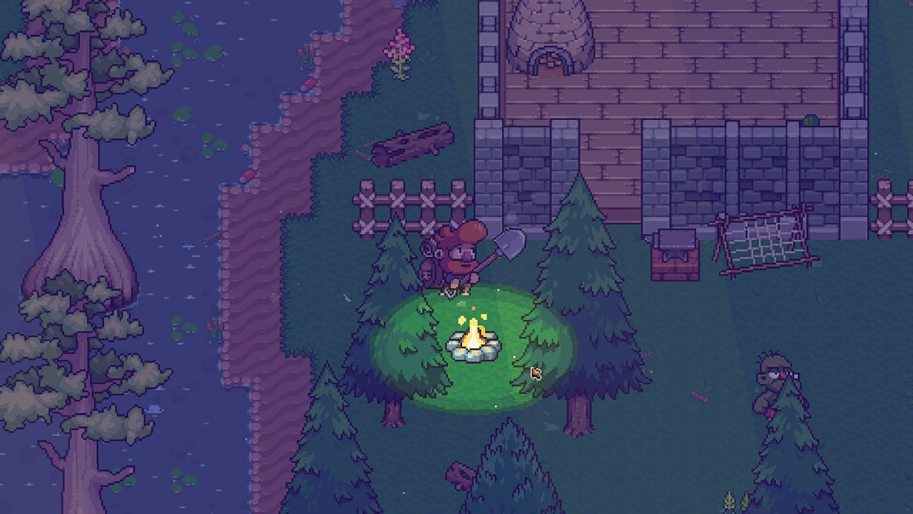 Building a campfire at night, near a small stone house in Wanderlost.