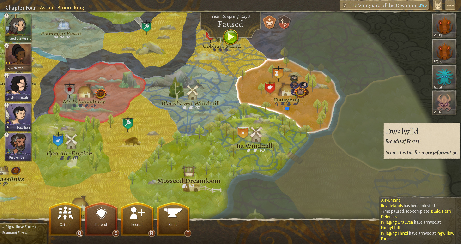 An overview of the realm's map in Wildermyth. The map is split into different sections with different buildings in each part, all color-coded. On the left there is a list of units, and on the right a list of enemies.