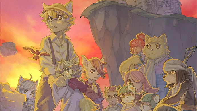 Fuga: Melodies of Steel Artwork of the cast in front of a sunset.