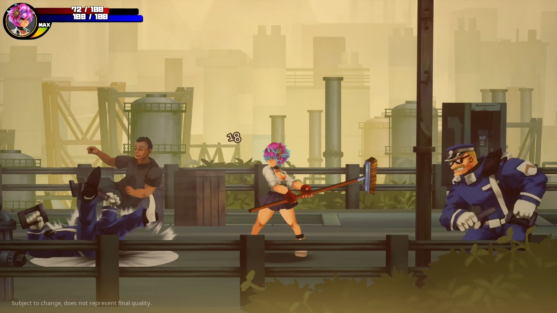 Pink-haired schoolgirl fighting cops in an industrial area in this Detained: Too Good for School screenshot.