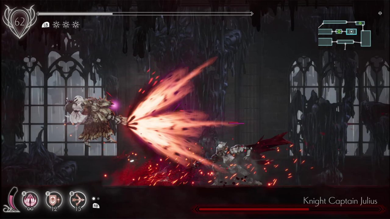 A screenshot of ENDER LILIES where Lily is in a boss fight.