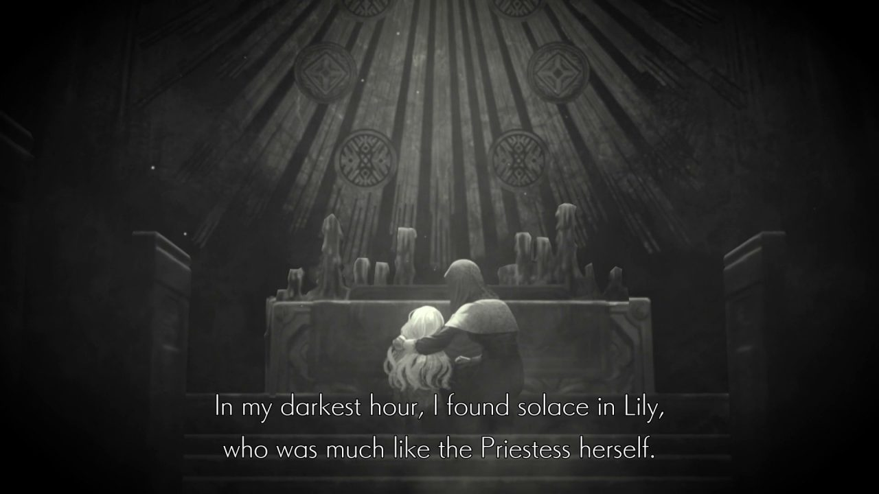 Ender Lilies cutscene, with a hooded figure and Lily taking solace before an altar.