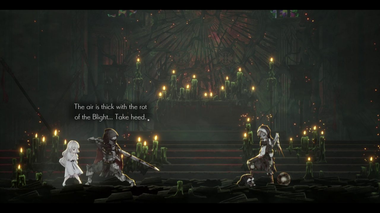 Lily and the Umbral Knight meeting the first boss.