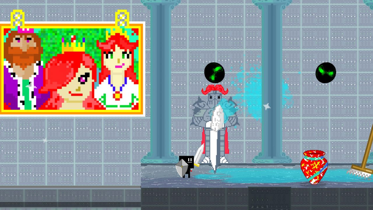 A portrait hangs on a grey wal as a knight walks through a corridor in Parasight