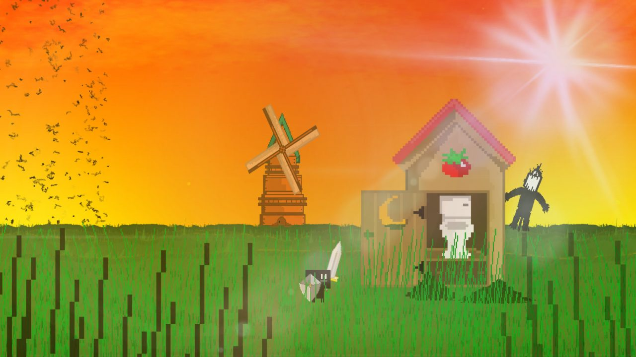 A windmill stands in the background against a sunset on a farm in Parasight