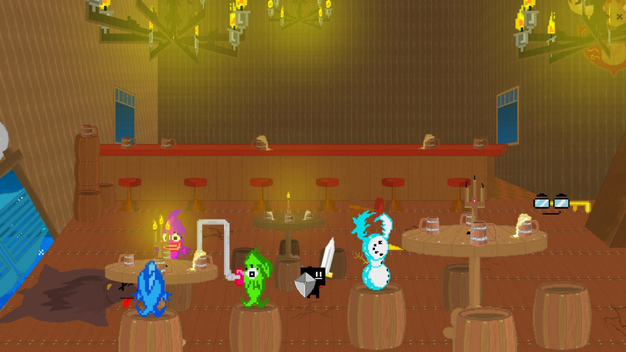 A group of odd creatures get together for a drink in Parasight
