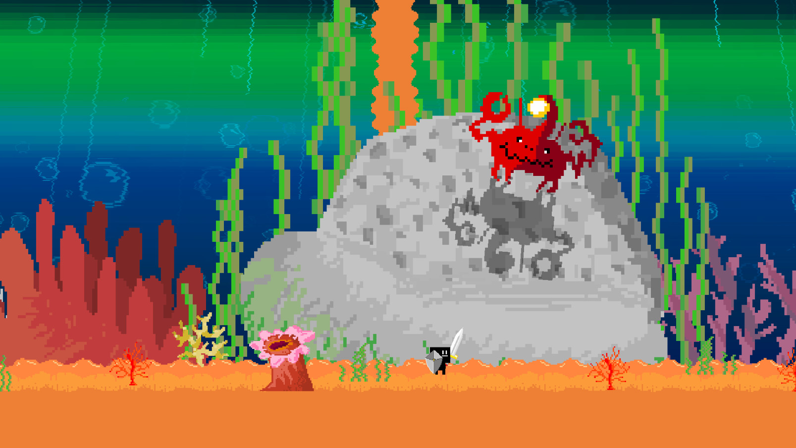 A character in Parasight comes up against a crab-like creature