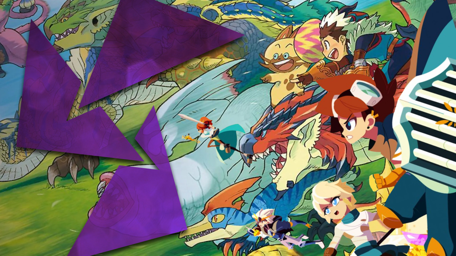 A bevy of Monster Hunter Stories 2 monsters charge ahead alongside characters from the game Cris Tales.