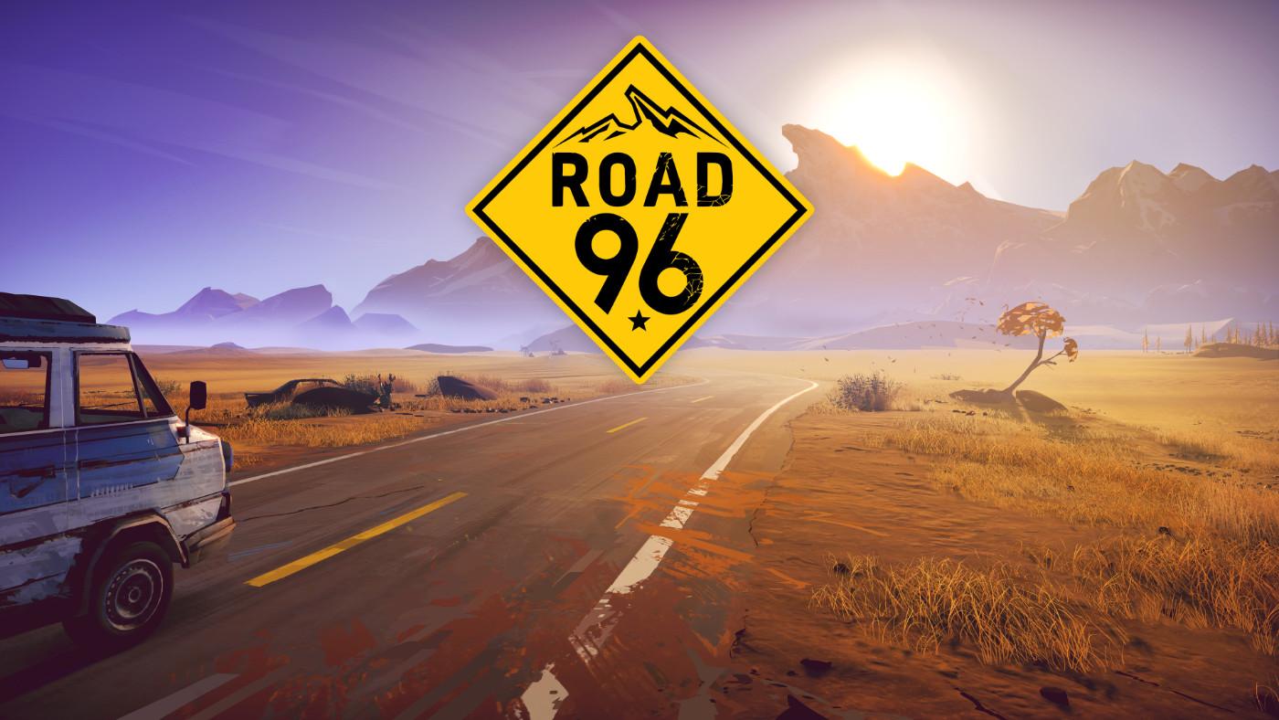 Road 96 artwork of an old blue van driving down a rural highway toward a mountain range.