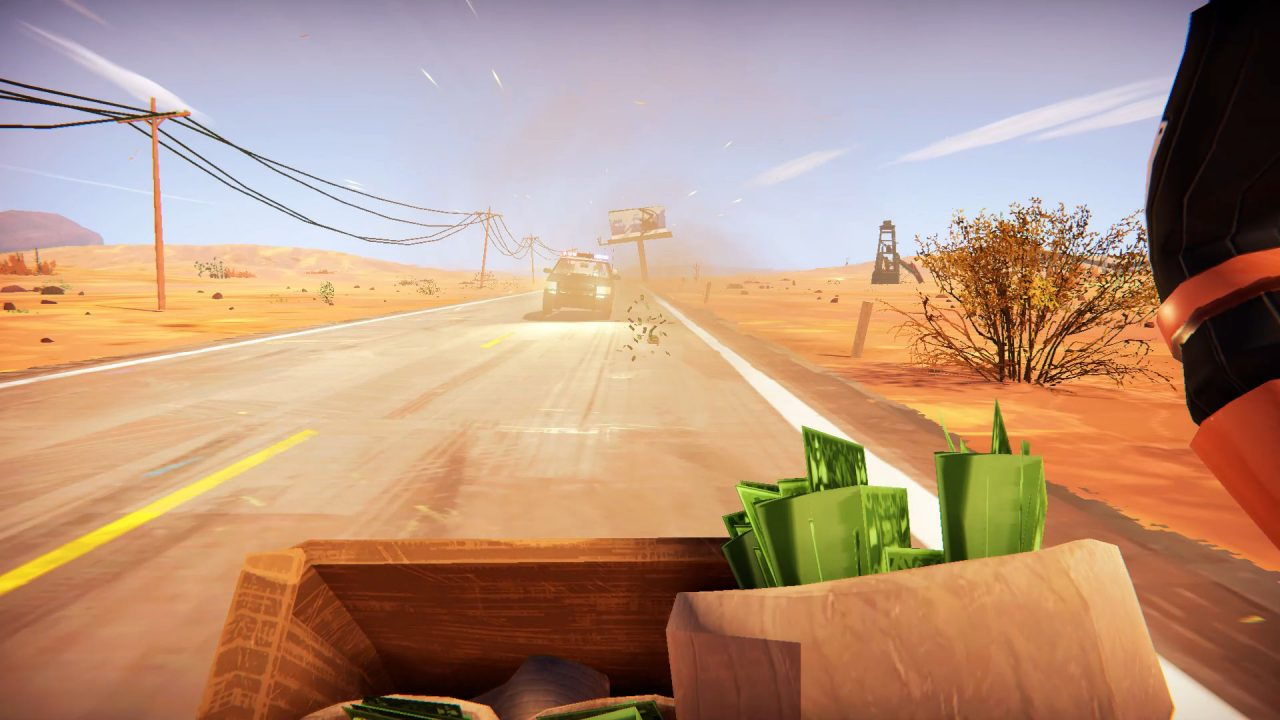 Bags of money flying toward a pursuing car on a desert road in Road 96.