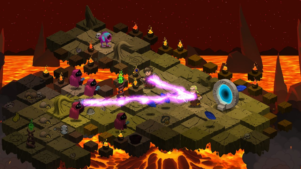 Defending a portal against otherworldly beings in Rogue Wizards.