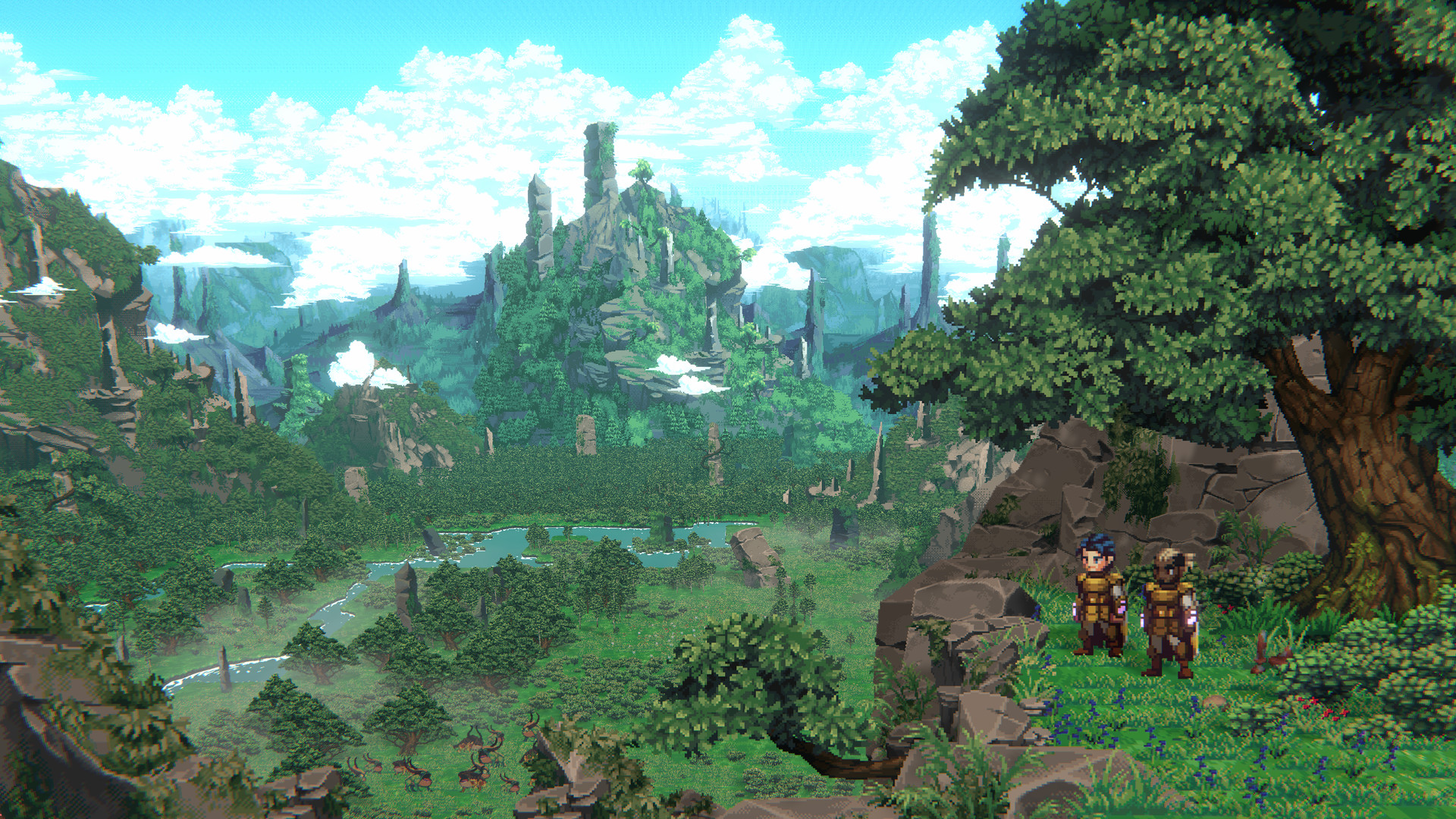 SacriFire screenshot of two characters clad in golden armor looking out at a beautiful green valley.