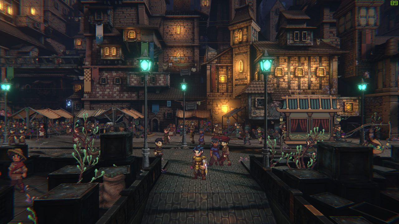 SacriFire screenshot of characters exploring an underground city with Medieval-style architecture.