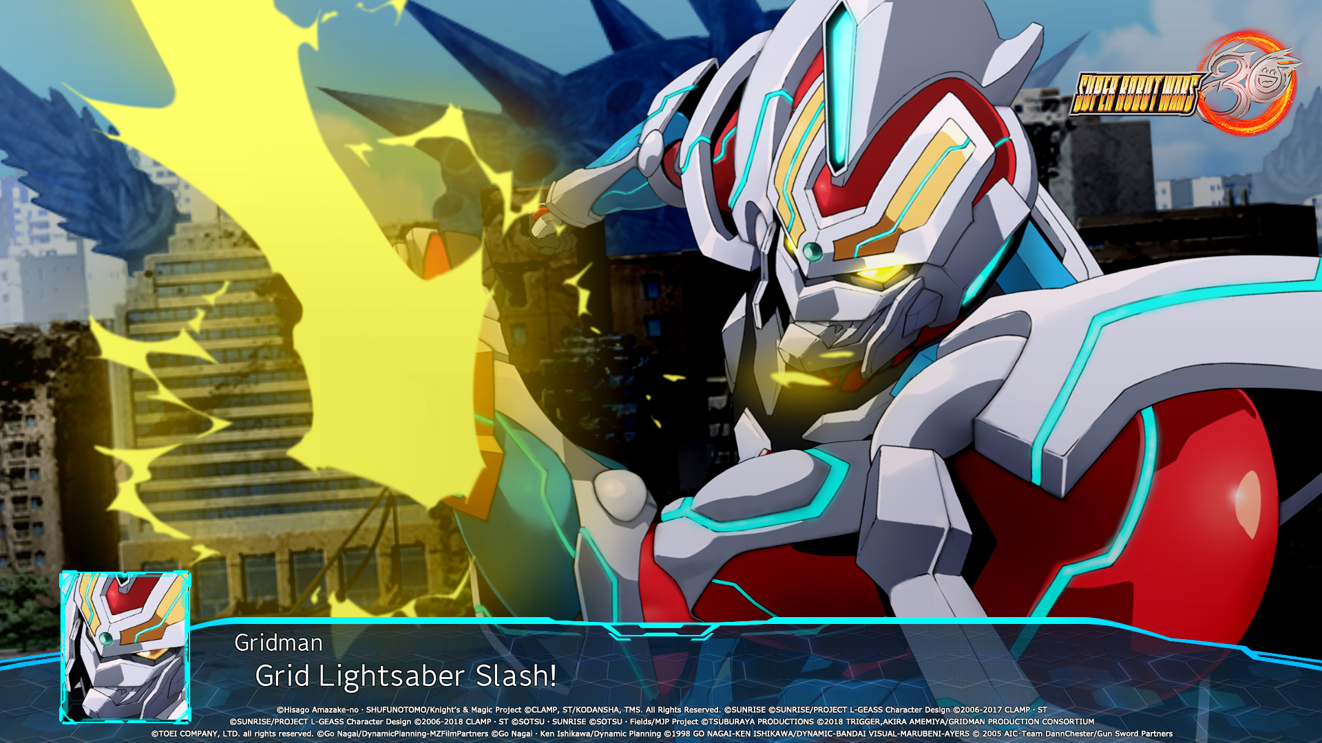 Super Robot Wars 30 Screenshot of a large mecha named Gridman attacking with a lightsaber.