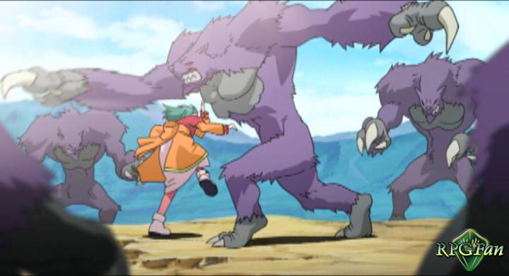 An anime cutscene of a green-haired character, fighting large purple monsters in Tales of Eternia or Tales of Destiny II.