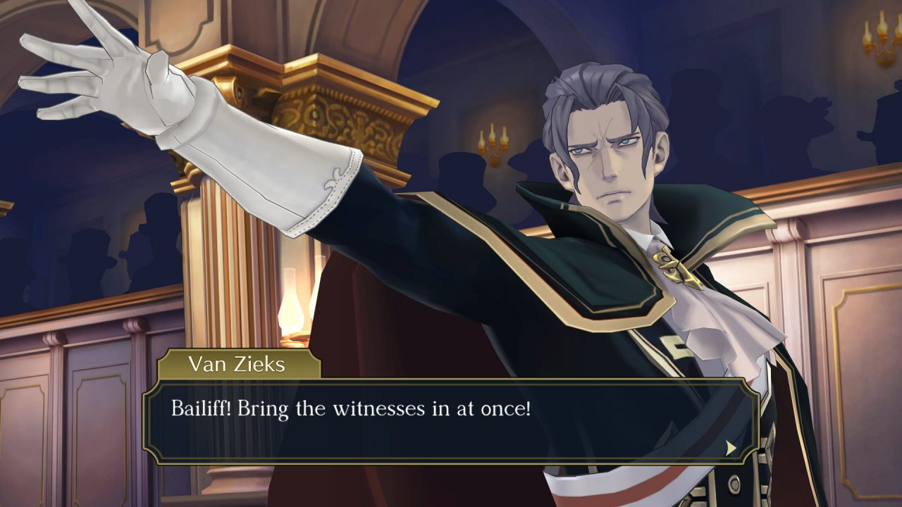 The prosecution (Van Zieks) looking dramatic with a cape in Great Ace Attorney Chronicles.