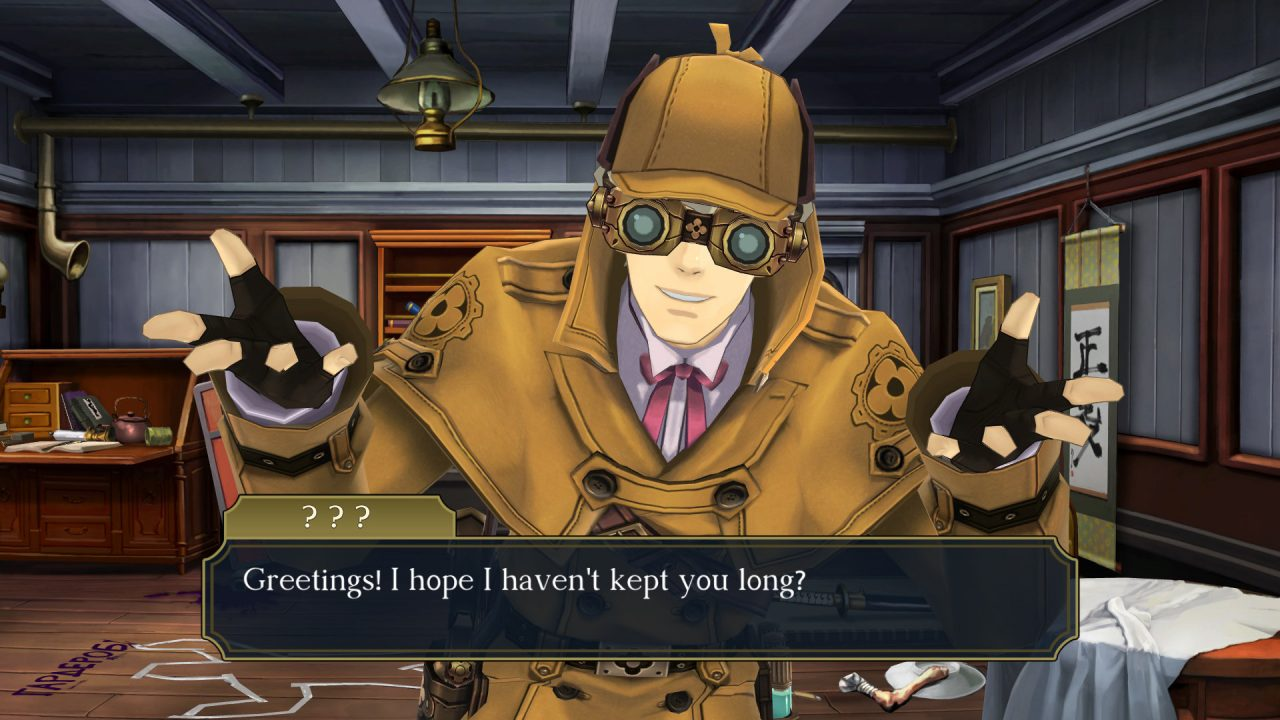 Herlock Sholmes, greeting everyone at the crime scene in The Great Ace Attorney Chronicles.