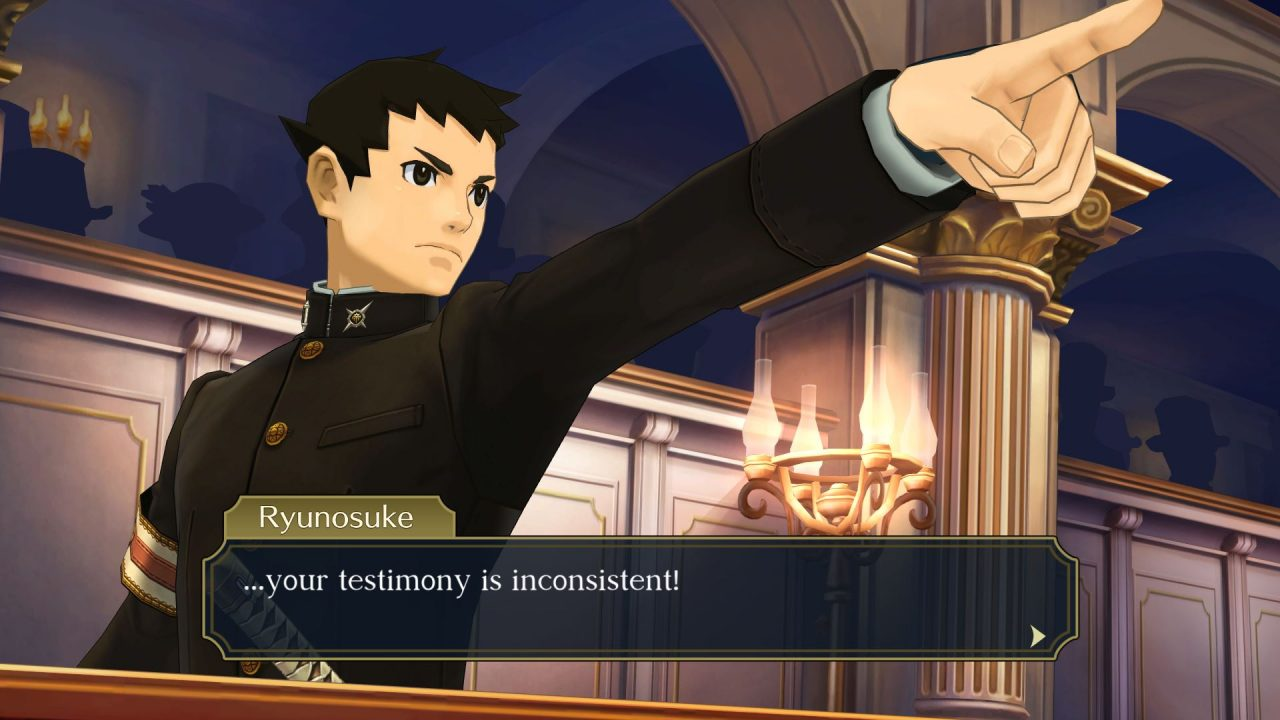 """Ryunosuke mastering the famous """"Objection!"""" pointing posture in Great Ace Attorney Chronicles."""