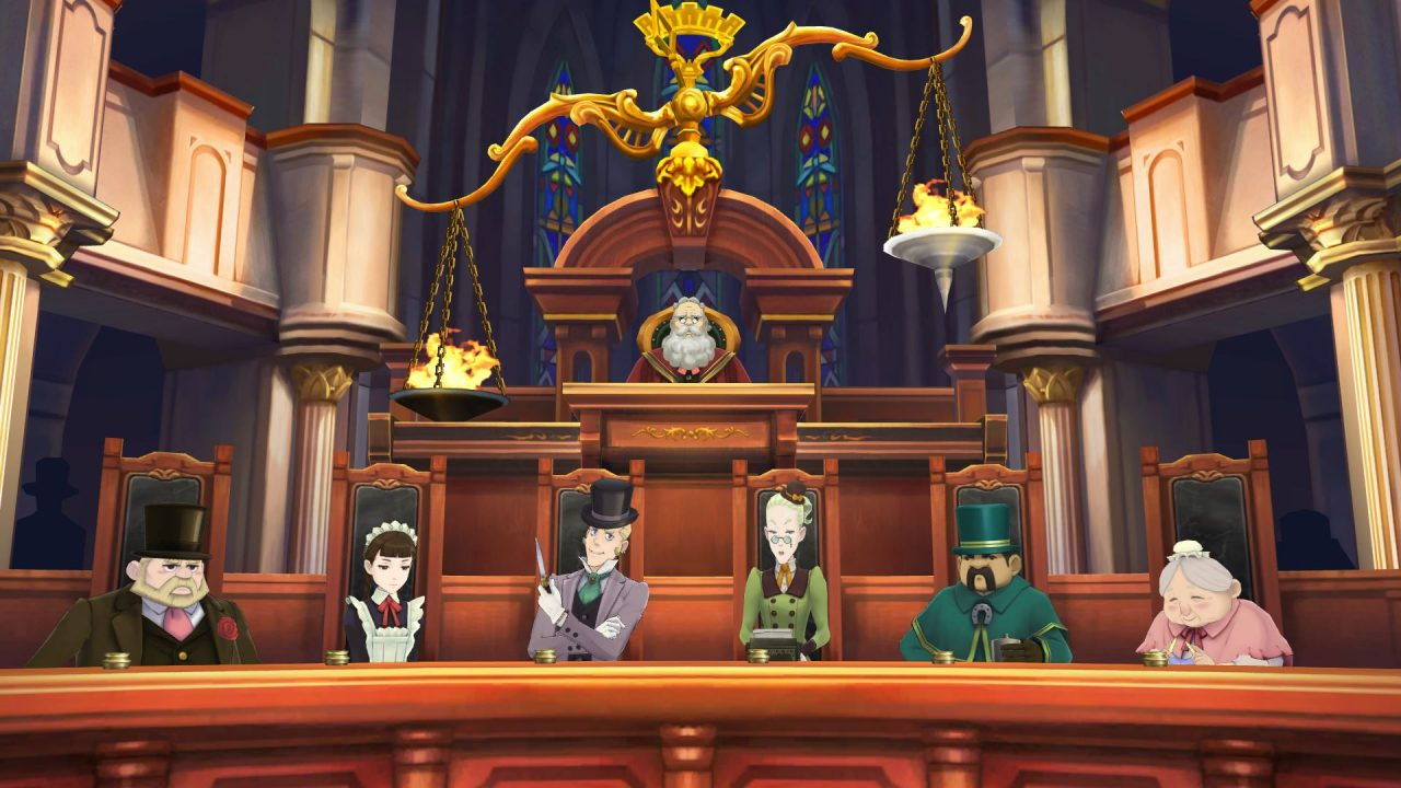 Judge and jury of six easily misled London citizens in the courtroom seats in Great Ace Attorney Chronicles.