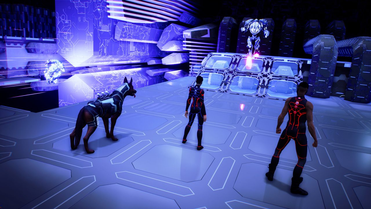 Three party members up against a foe in The Protagonist: EX-1