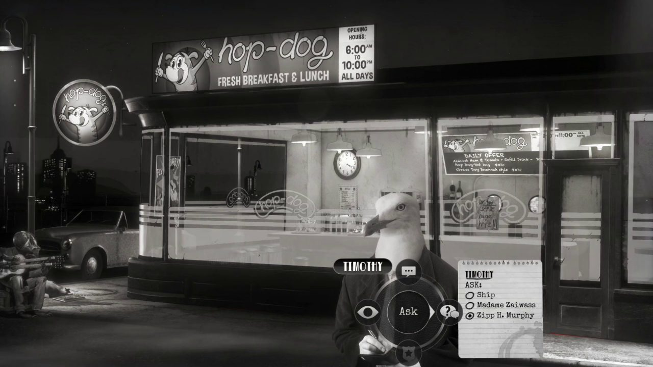 Chicken Police screenshot of a seagull named Timothy standing in front of a diner called the Hop-Dog.