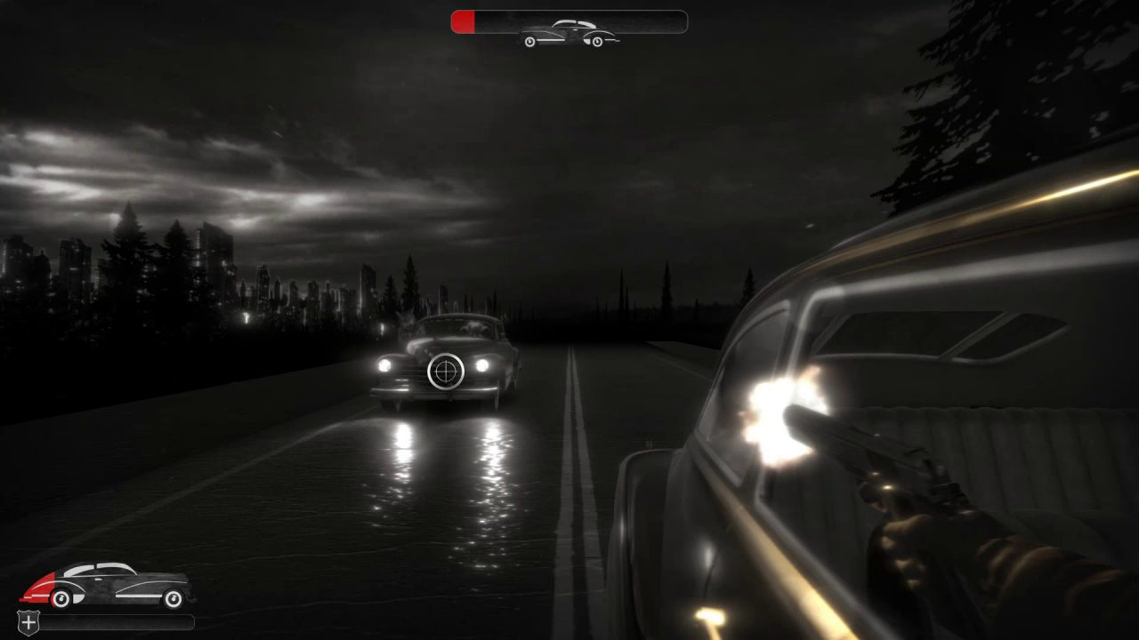 Chicken Police screenshot of a car chase minigame where the player must shoot at a pursuing car.
