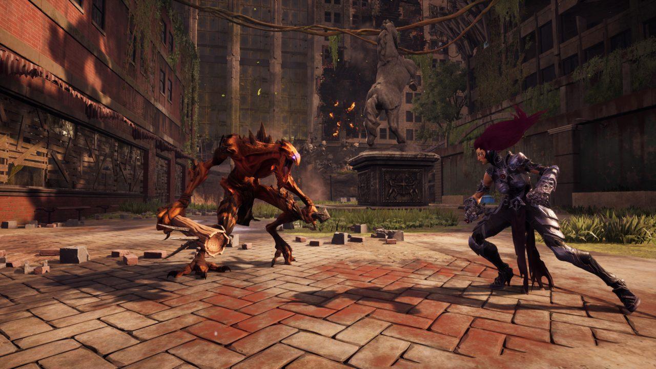 Screenshot From Darksiders III Featuring Fury Fighting A Demon