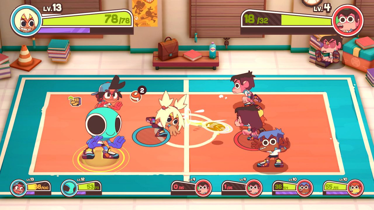 A dodgeball match, which serves as combat, in Dodgeball Academia.