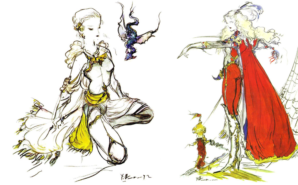 Artwork of Faris and Lenna from Final Fantasy V.