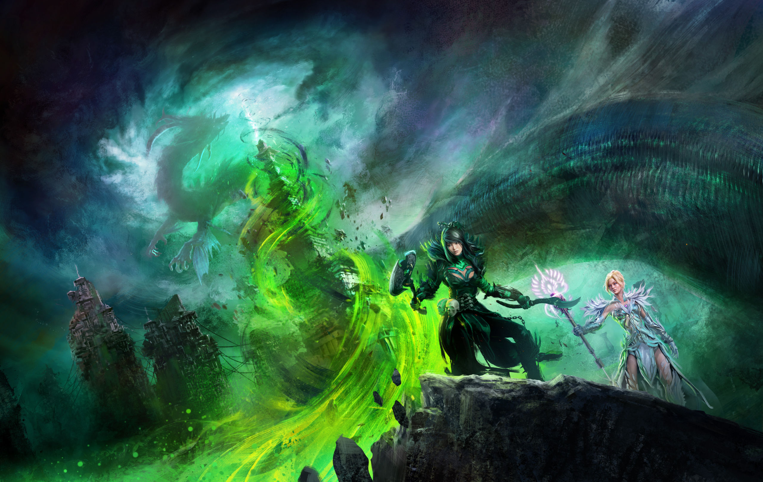 Guild Wars 2: End of Dragons artwork - A dragon flies around a tower engulfed in a spiral of green fire while two women watch from a distance.