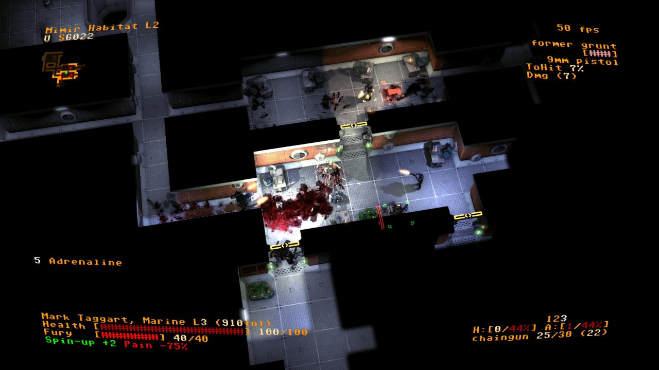 The protagonist stands in a bloody hallway with 5 Adrenaline.