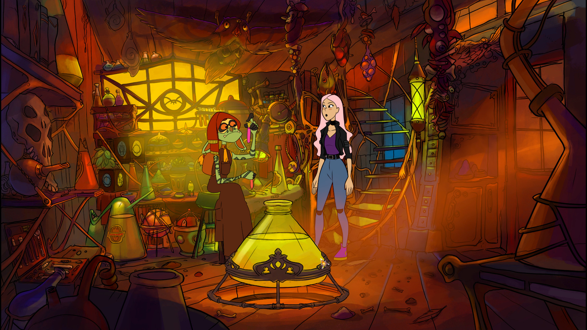 Near-Mage screenshot of main character and a goblin-like character examining test tubes in a potions lab.