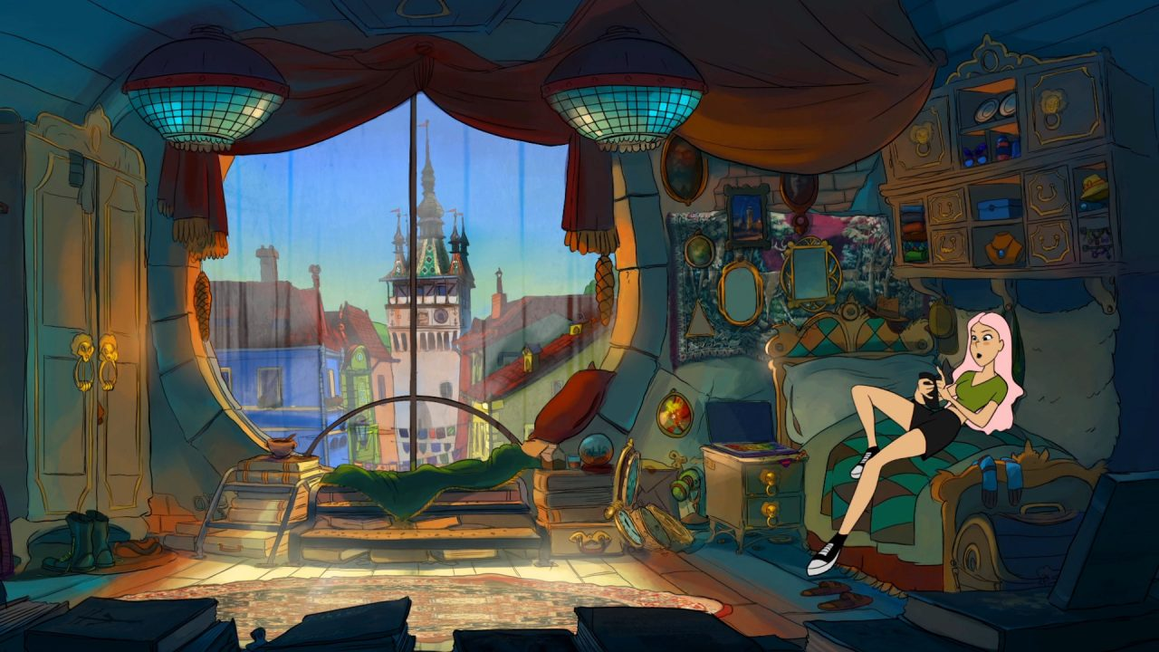 Near-Mage screenshot of main character relaxing in a bedroom with a large window overlooking the town.