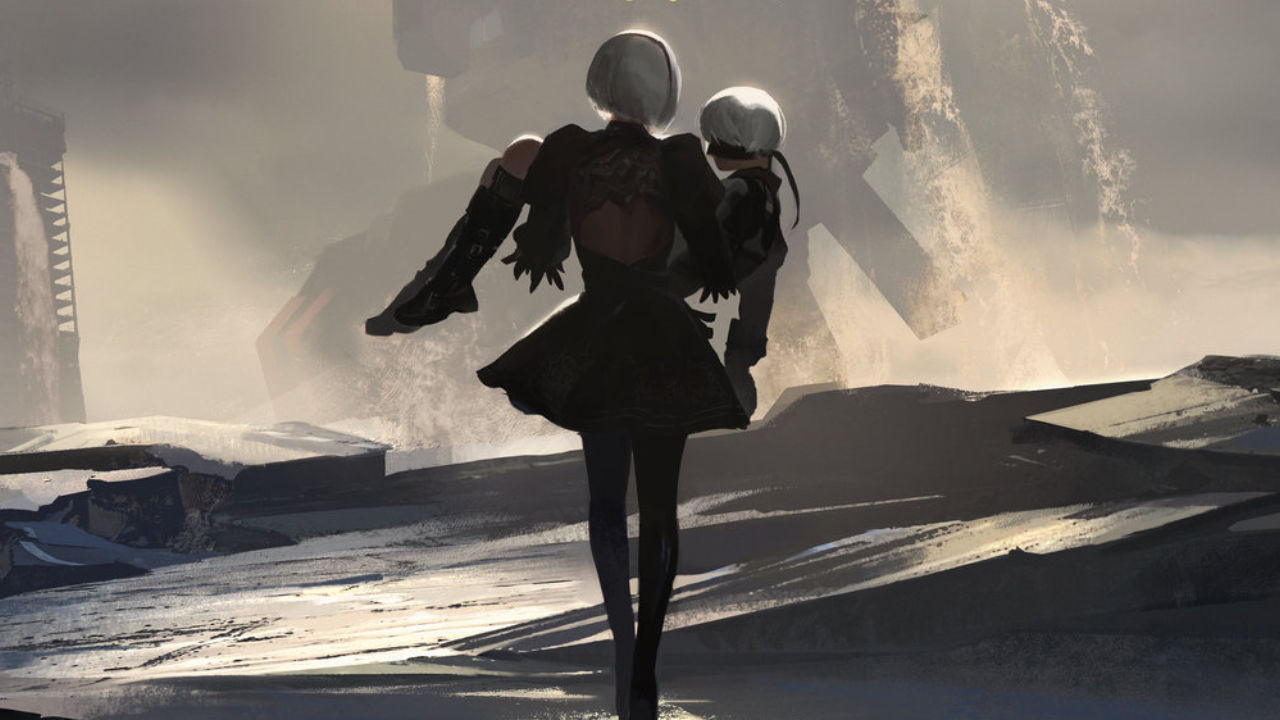 NieR: Become as Gods Artwork of a white-haired female android carrying the limp body of her white haired male android companion.