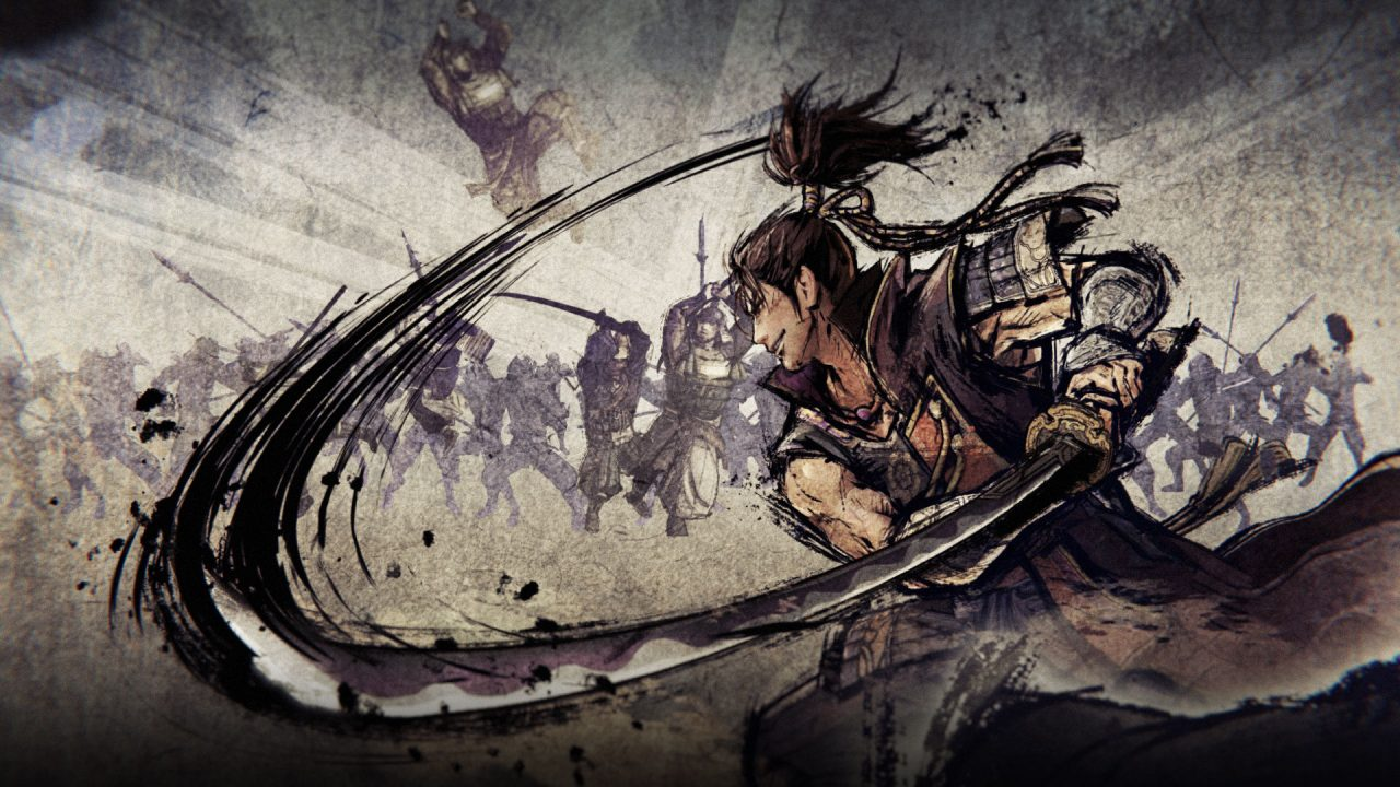 Samurai Warriors 5 cutscene with beautiful artwork in a painted style, with a warrior slashing his sword while several enemies fight in the background.