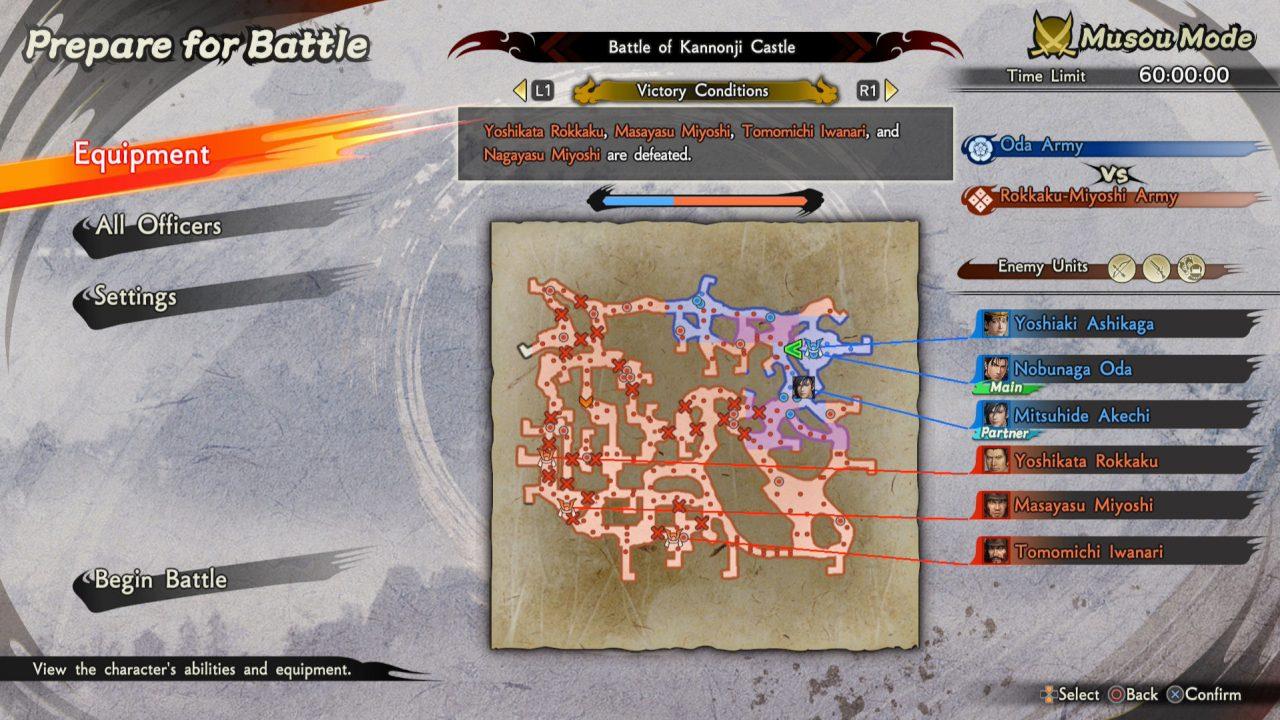 Samurai Warriors 5 map screen showing units in preparation for battle.
