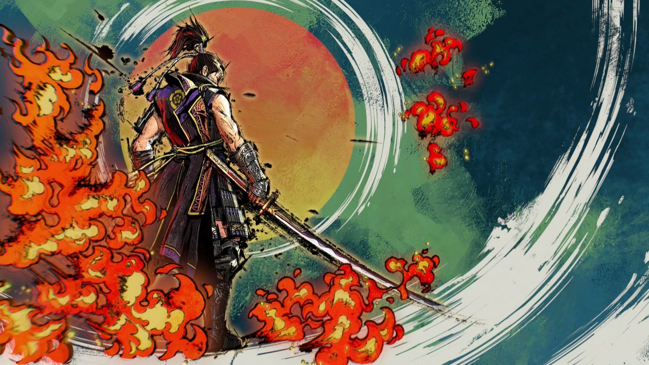Samurai Warriors 5 special attack done in the style of a painting with stylized fire.