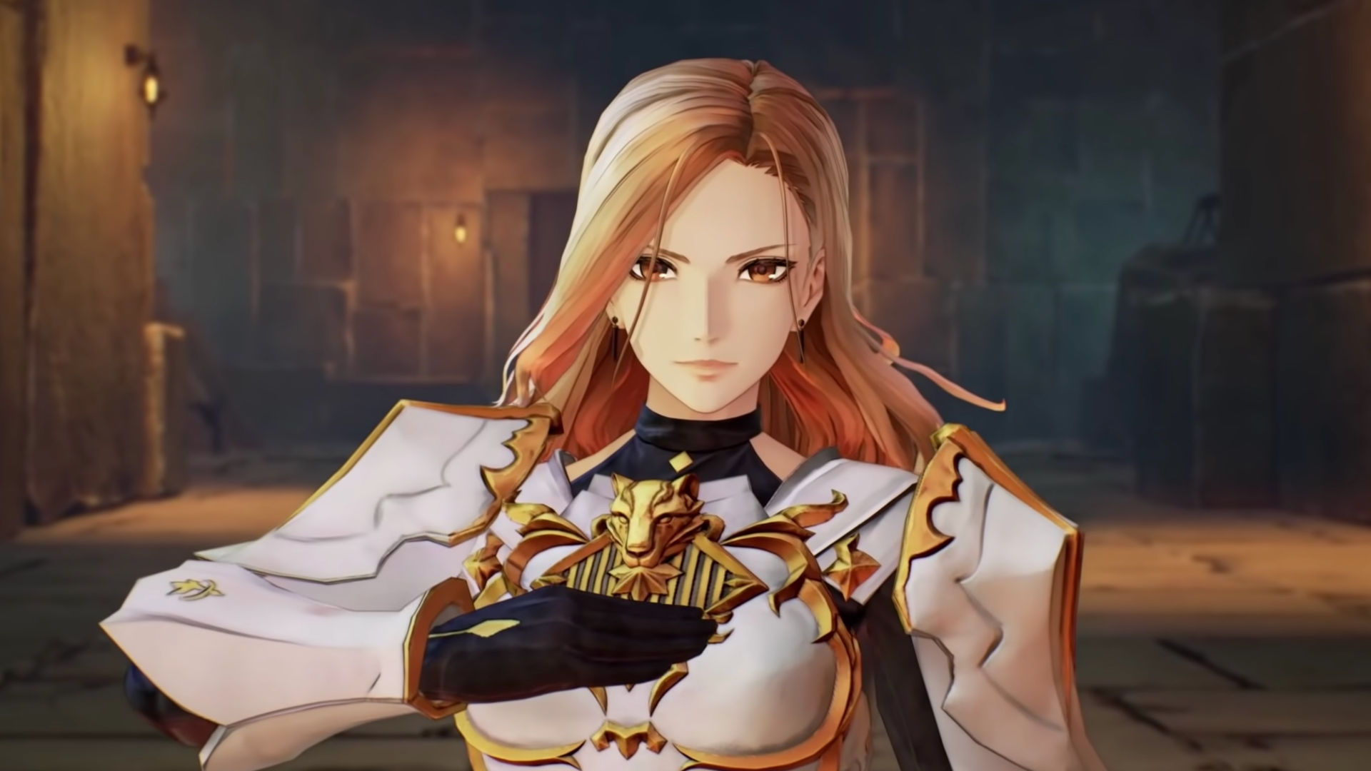 Tales of Arise Screenshot of armored Captain Kisara in a castle hall.