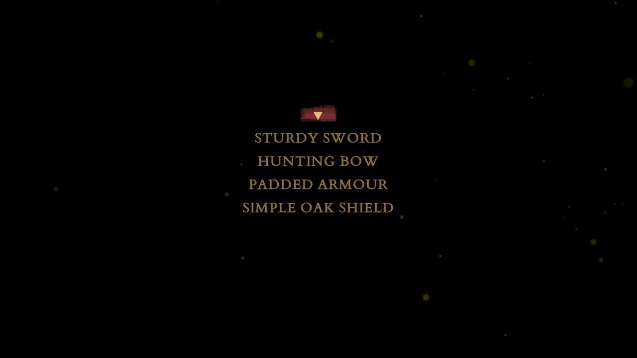 An equipment list. Ah yes, Alex has her sturdy sword!